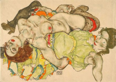 Schiele, Egon: Female Lovers. Fine Art Print/Poster. Sizes: A4/A3/A2/A1 (003680)
